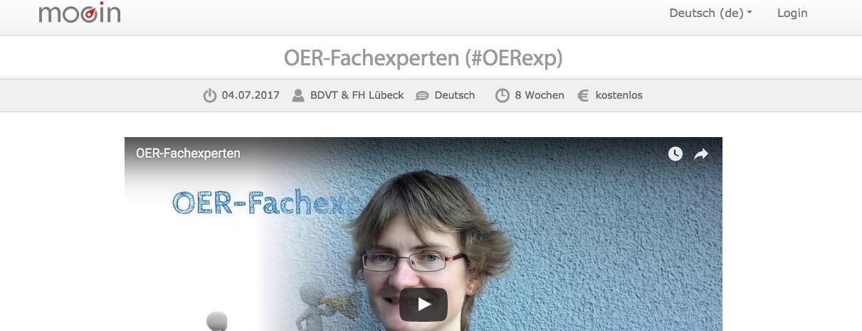 """Ausschnitt aus der Kursseite für die Online-Phase """"OER-Fachexperten"""" auf der Plattform mooin"""