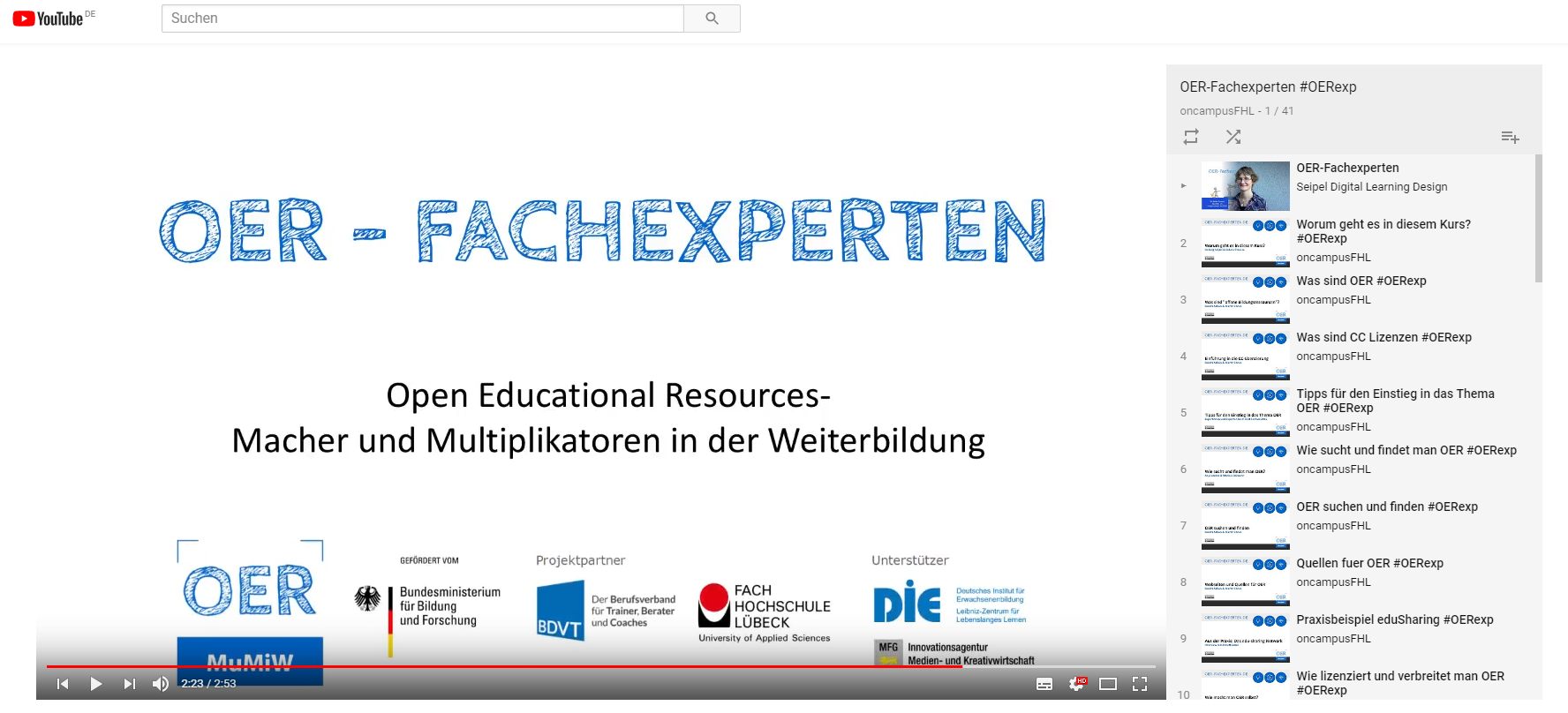 Screenshot der OER-Fachexperten: Playlist auf YouTube